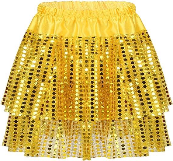ranrann Falda de Danza Latina Niña Elástica Cintura Tutú Falda de ...