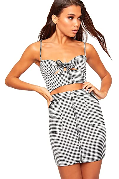 728d3af6ee7d09 WearAll Women s Gingham Checked Print Strappy Sleeveless Bralet New Ladies Crop  Top Vest - Black White