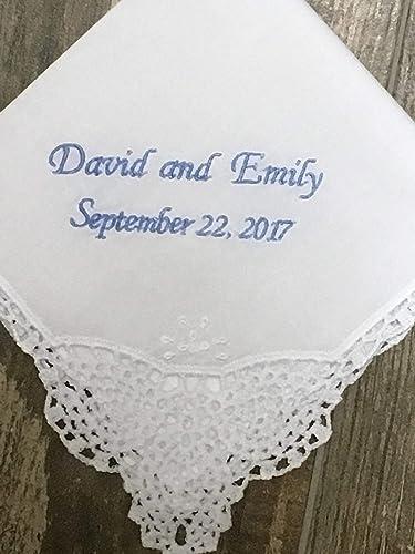 Wedding gift for Bride hankie Monogrammed Handkerchief for Bride Something Blue Wedding gift hanky