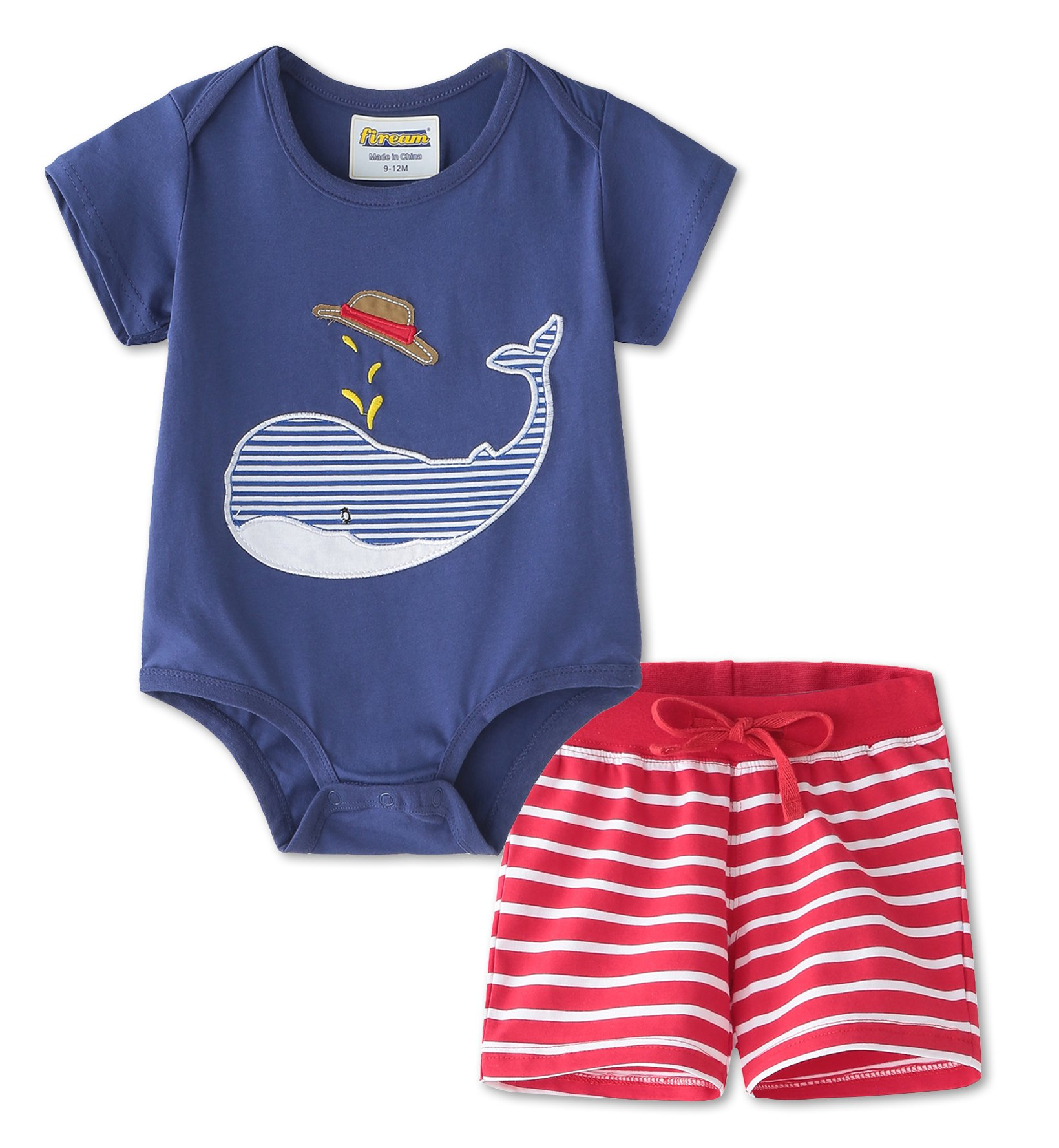 BabyBoysCottonSummerSetsShortsleeveElephantPatternt-ShirtsandShorts2pcsClothingSets(BA303,9-12M)