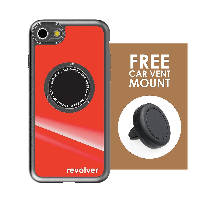 Ztylus Designer Revolver Mシリーズカメラキット: 4 in 1レンズケース付きIphone 7 / 8 – 魚眼レンズ、広角レンズ、マクロレンズ、CPL iPhone 7, iPhone 8 B079F2XCLJ Gloss Red Case + Car Vent Mount Gloss Red Case + Car Vent Mount