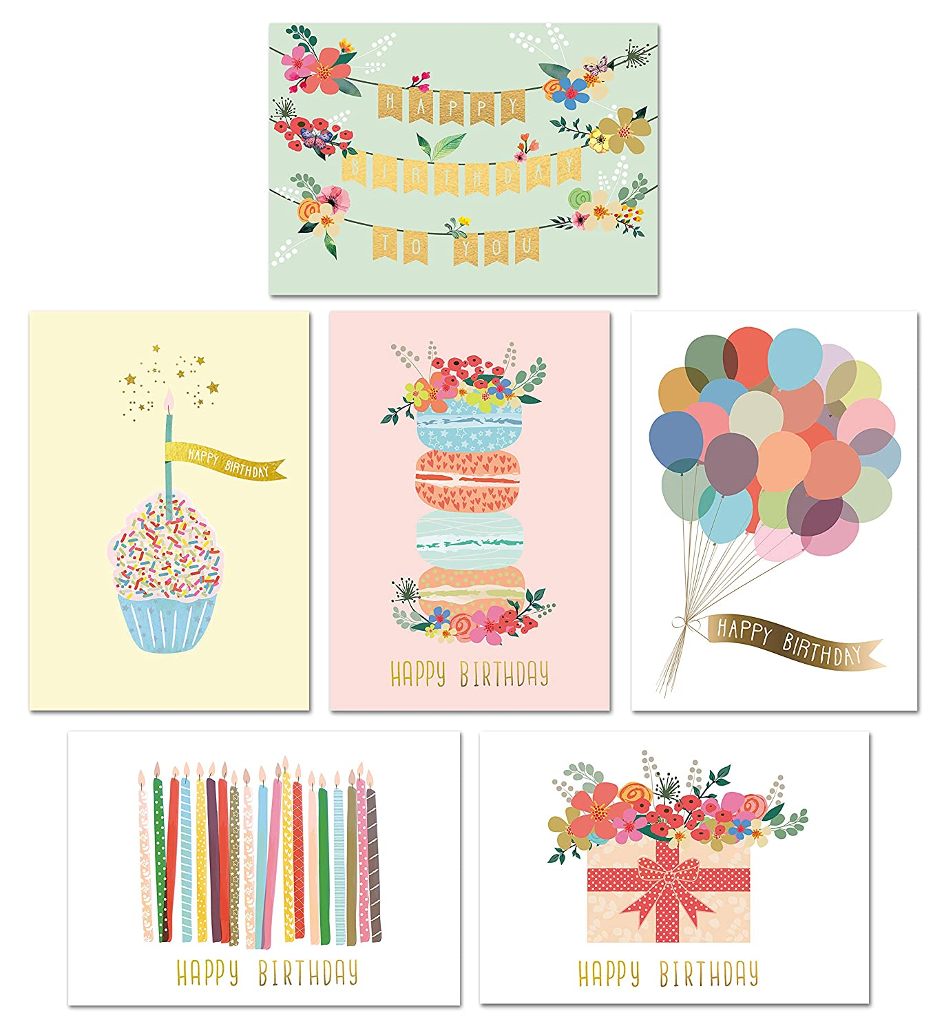 NEW Assorted Lot of 20 Happy Birthday greeting Cards with matching envelopes.