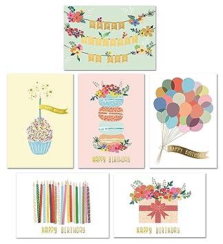 Gold Foil Bulk Birthday Cards Assortment 48pc Happy Card With Envelopes Box Set