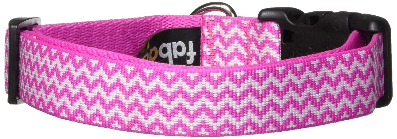Fab Dog Pink Chevron Nylon 1-Inch Dog Collar, Large