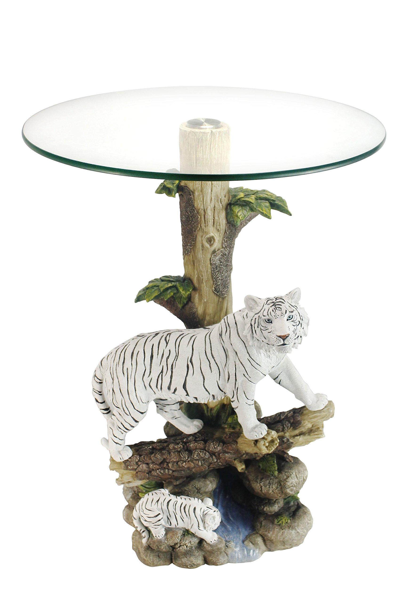 OK Lighting OK-0732N Animal Sculpture End Table 24'' H Glass Top Color Sculpture End Table - Tiger