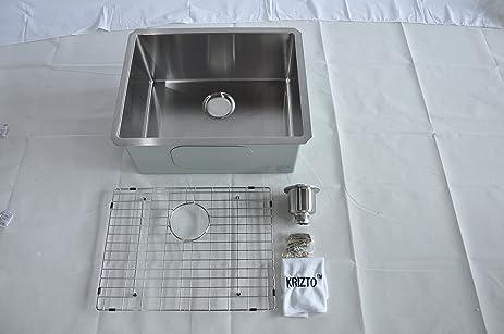 krizto 23 inch single bowl undermount 16gauge stainless steel kitchen sink 10 inch deep bowl krizto 23 inch single bowl undermount 16gauge stainless steel      rh   amazon com
