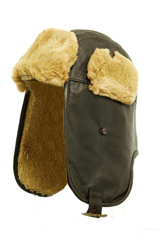 Herren Fellmütze 100% echt Leder mit Kaninchen Fell Pelz Fliegermütze Wintermütze Pilotenmütze Ledermutze, Hut AMCS-0005