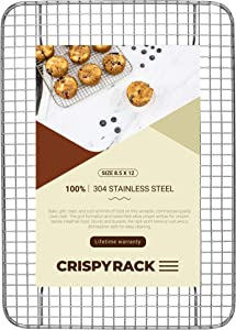 "CrispyRack Heavy Duty 100% 304 Stainless Steel Wire Rack For Cooking, Roasting, Drying, and Grilling. Rack Fits Small Quarter Sheet Size Baking Pan, Oven Safe, Commercial Quality, 8.5"" x 12"""