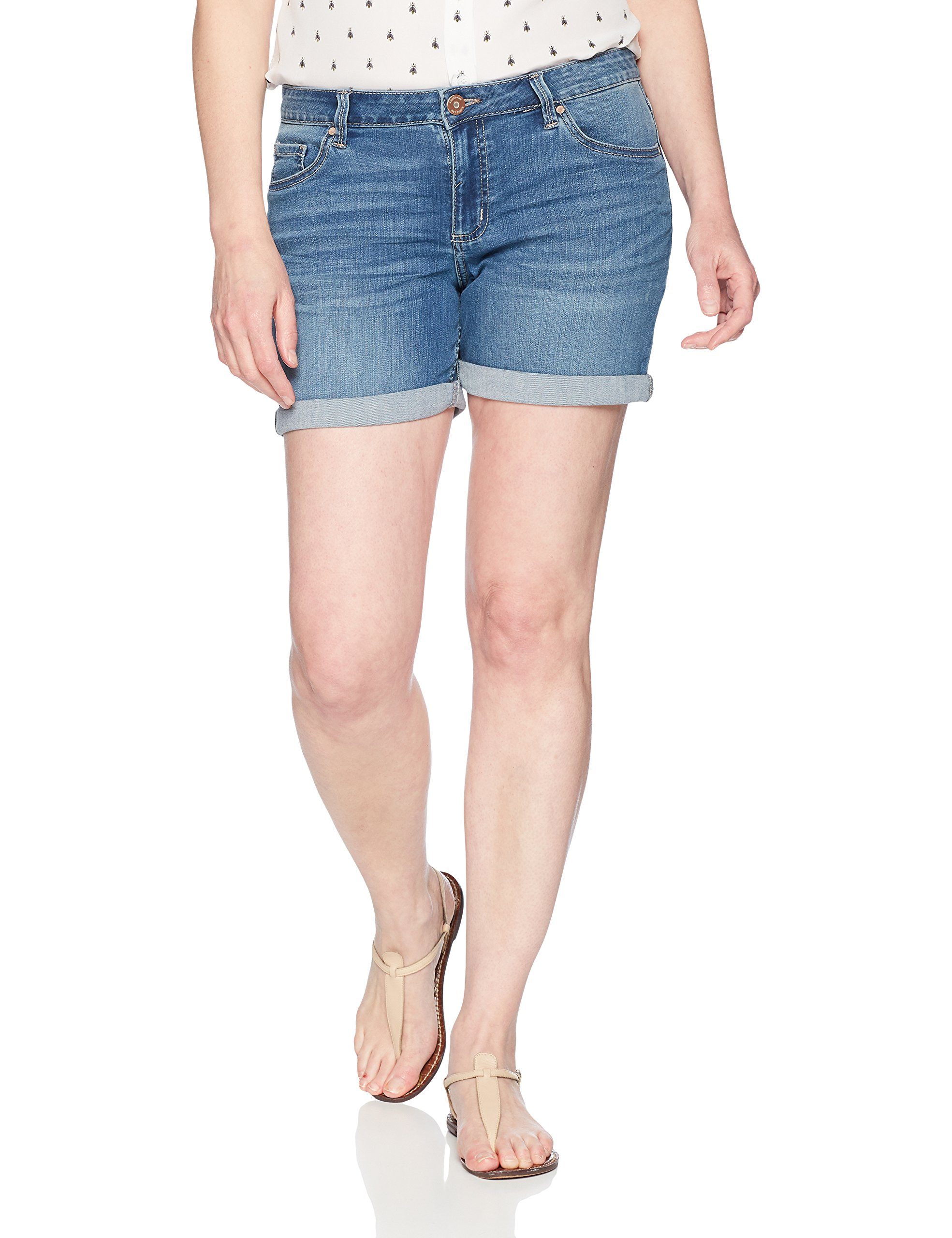 Riders by Lee Indigo Women's Modern Collection 5'' Denim Rolled Cuff Short, mid wash, 14 AVG