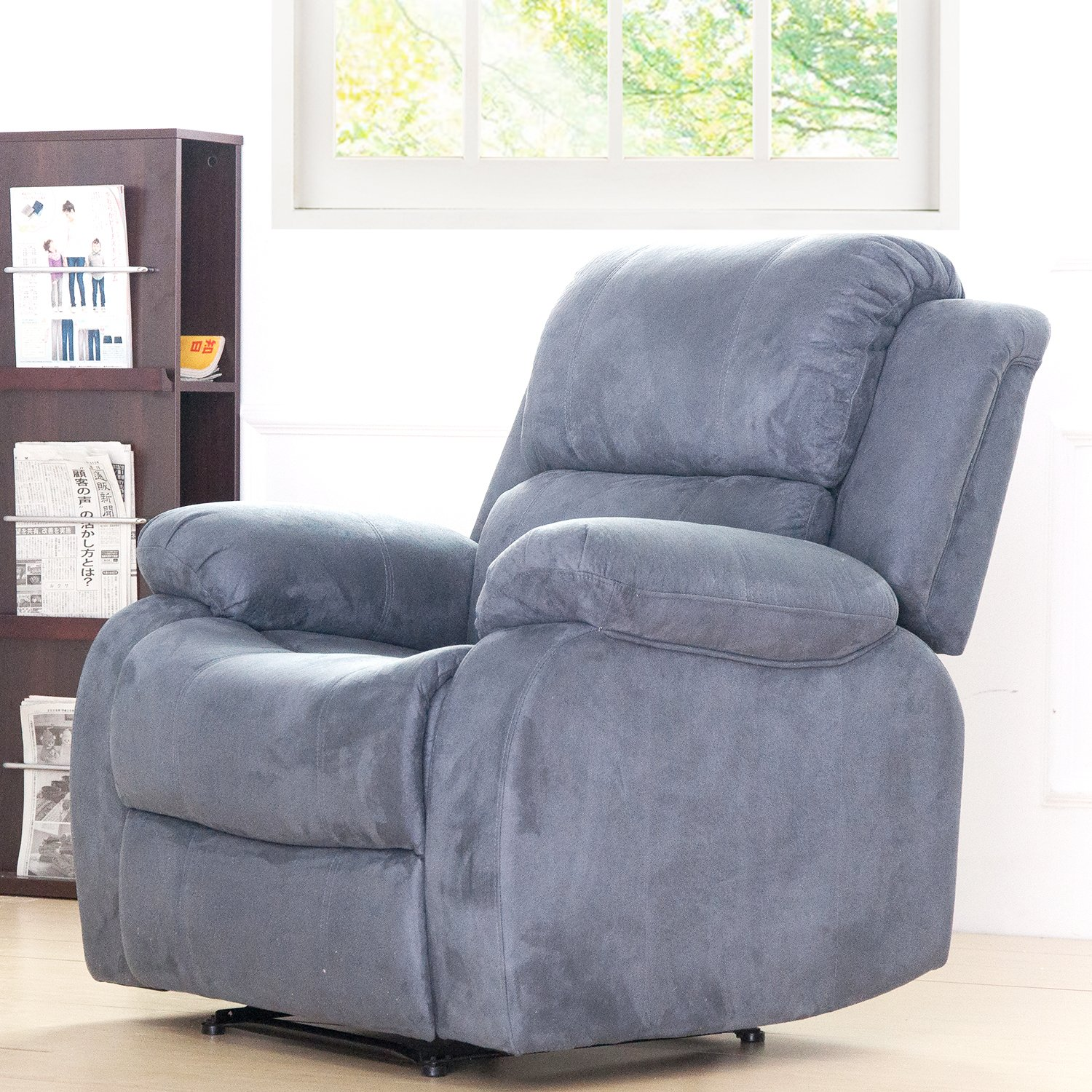 Merax Suede Heated Massage Recliner Sofa Chair Ergonomic Lounge with 8 Vibration Motors, Grey by Merax (Image #7)