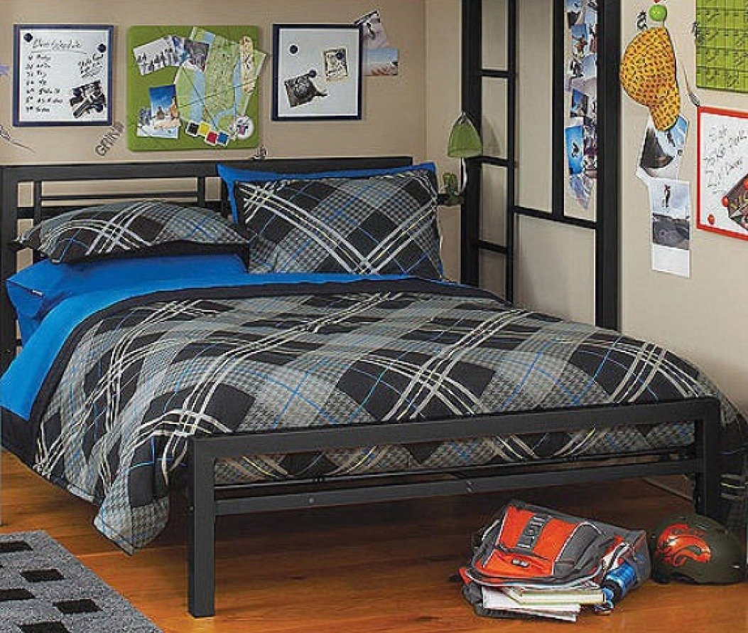 Full or Twin Bed Black or Silver Metal Frame Kids Bedroom Dorm Under Loft Beds (Black - Full)