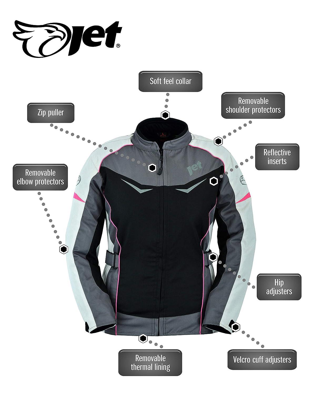 , Grey//Pink JET Womens Ladies Motorcycle Motorbike Jacket Waterproof Armoured ROCHELLE L 12