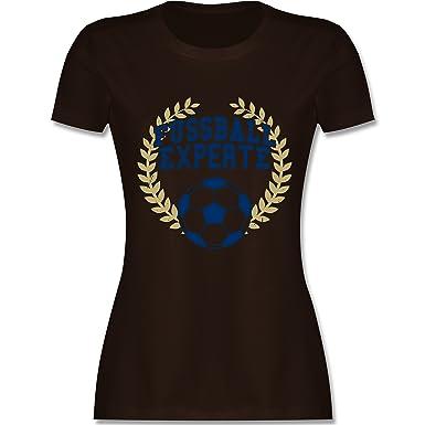 Fußball - Fussball Experte - S - Braun - L191 - Damen T-Shirt Rundhals