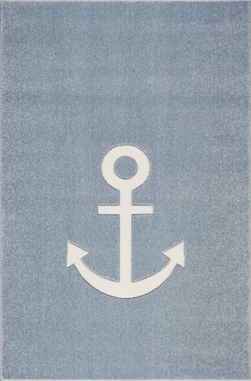 Livone Jugendteppich Kinderzimmer Kinderteppich Anker Maritim See in blau grau Weiss Größe 120 x 170 cm