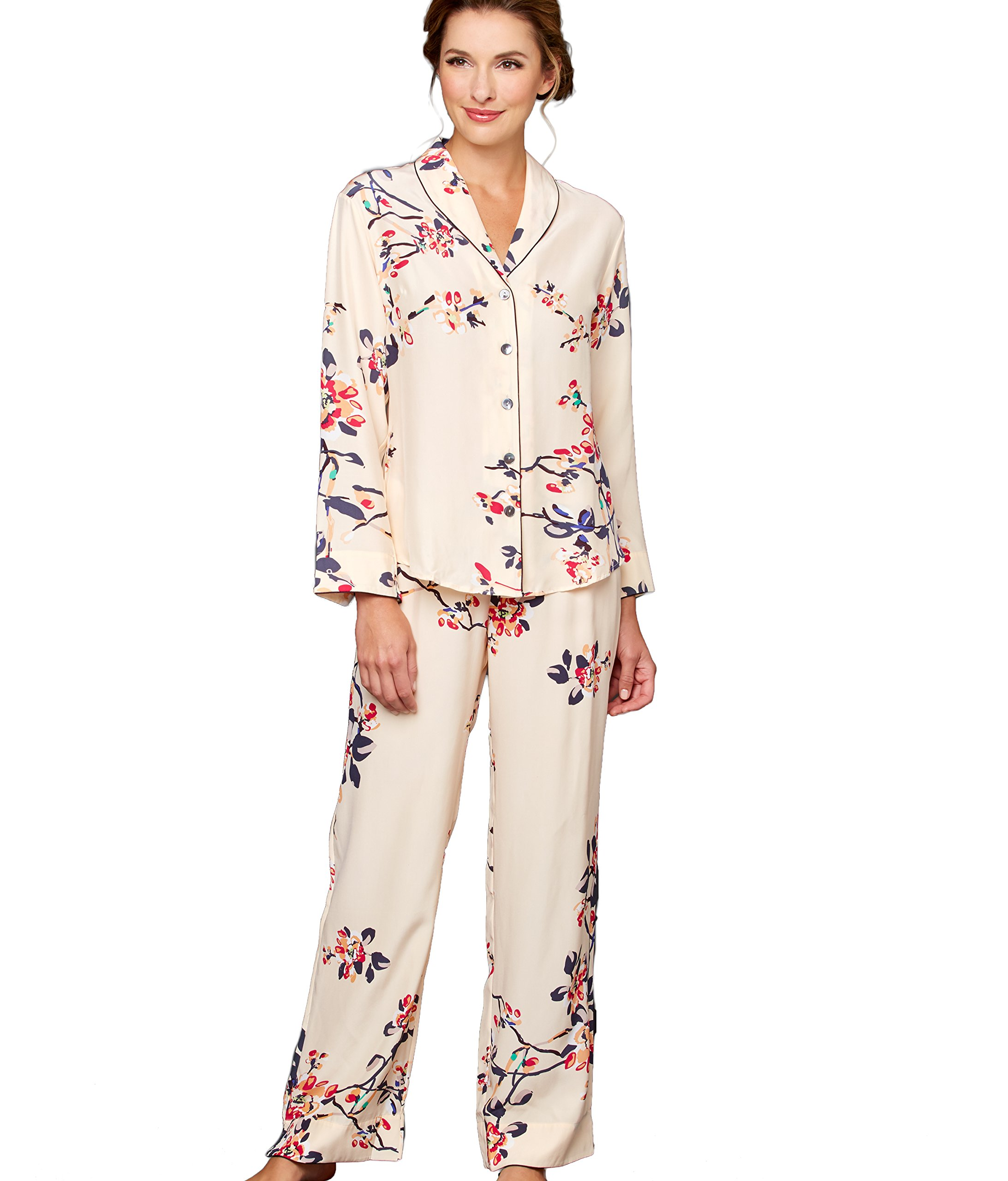 Julianna Rae Women's 100% Silk Print Pajamas, Natalya Collection, Sonnet
