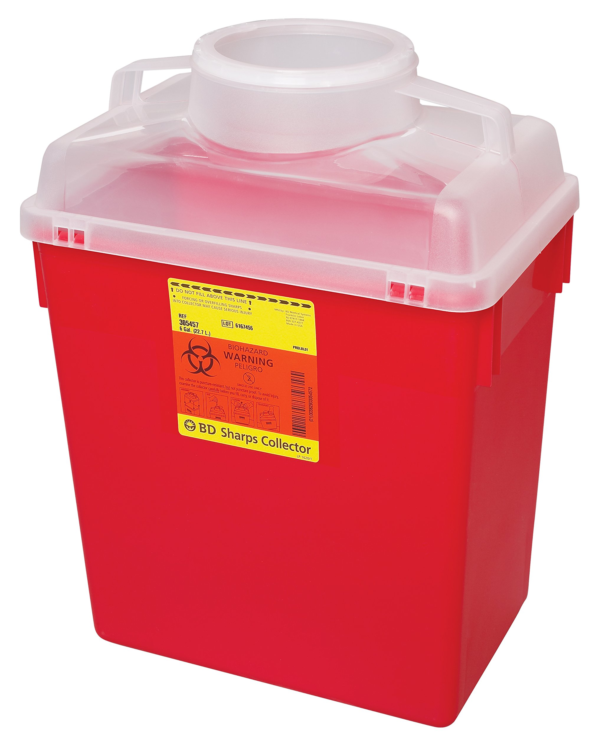 BD 305465 Multi-Use Nestable Sharps Collector with Large Funnel Clear Top, 12-1/2'' Width x 17-1/2'' Height x 8-1/2'' Depth, 6 Gallon Capacity, Red Base/Natural Top (Case of 12)