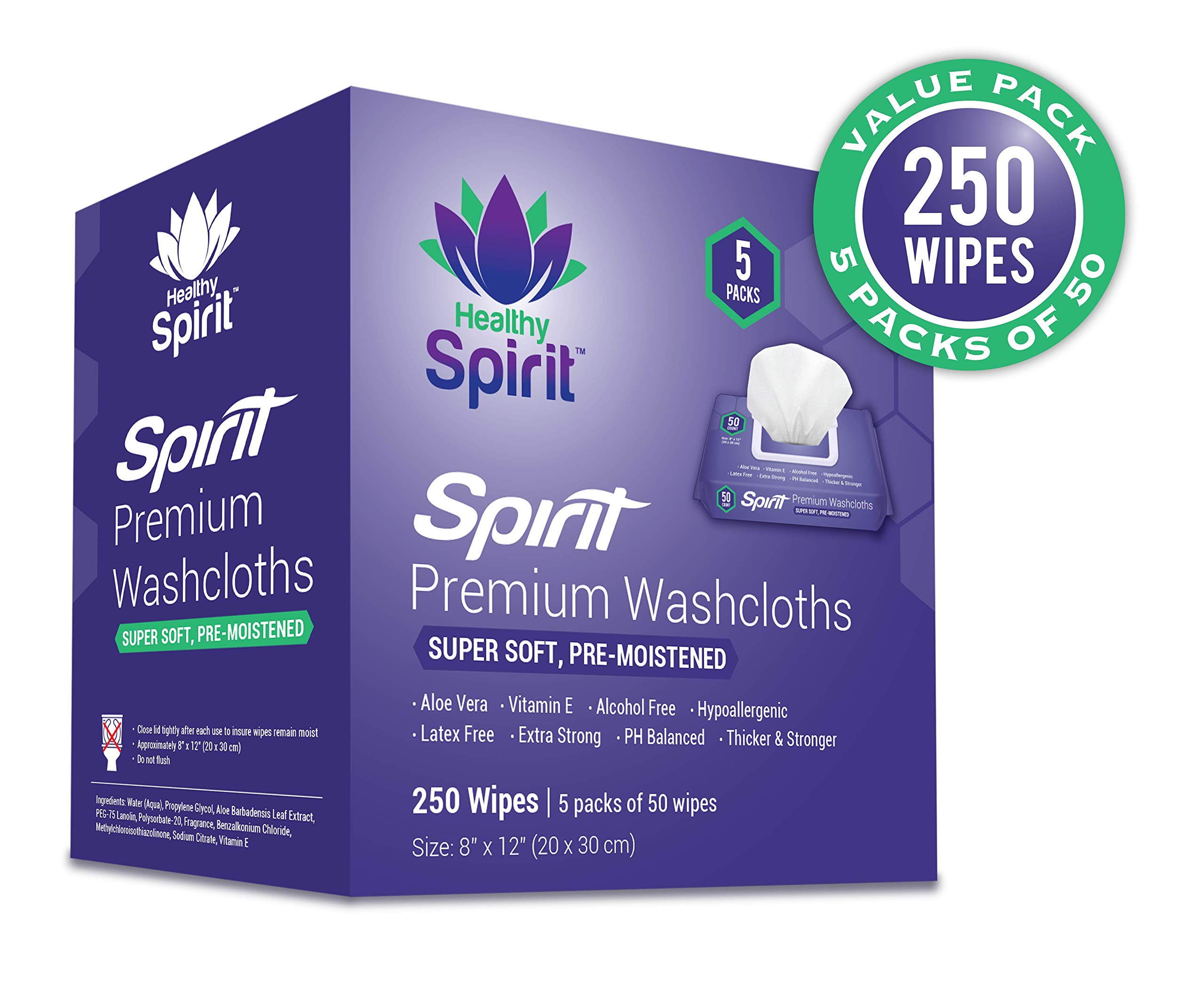 Healthy Spirit Disposable Washcloths 250 Count - Adult Wipes Extra Large, Adult Wipes for Incontinence & Cleansing, 8''x12'', 250 Count, White