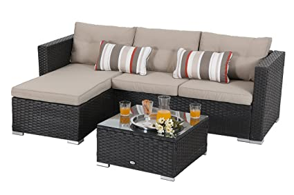 Superb Phi Villa 3 Piece New Outdoor Furniture Sectional Sofa Patio Set With Upgrade Rattan Wicker Beige Inzonedesignstudio Interior Chair Design Inzonedesignstudiocom