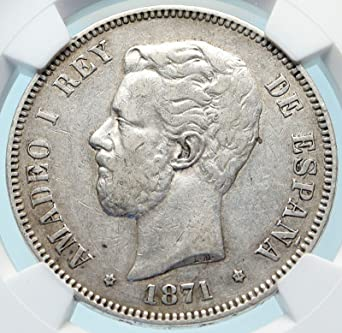 Unknown 1871 1871 Spain King Amadeo I Amadeus Antique Ar 5 Pes Xf 45 At Amazon S Collectible Coins Store