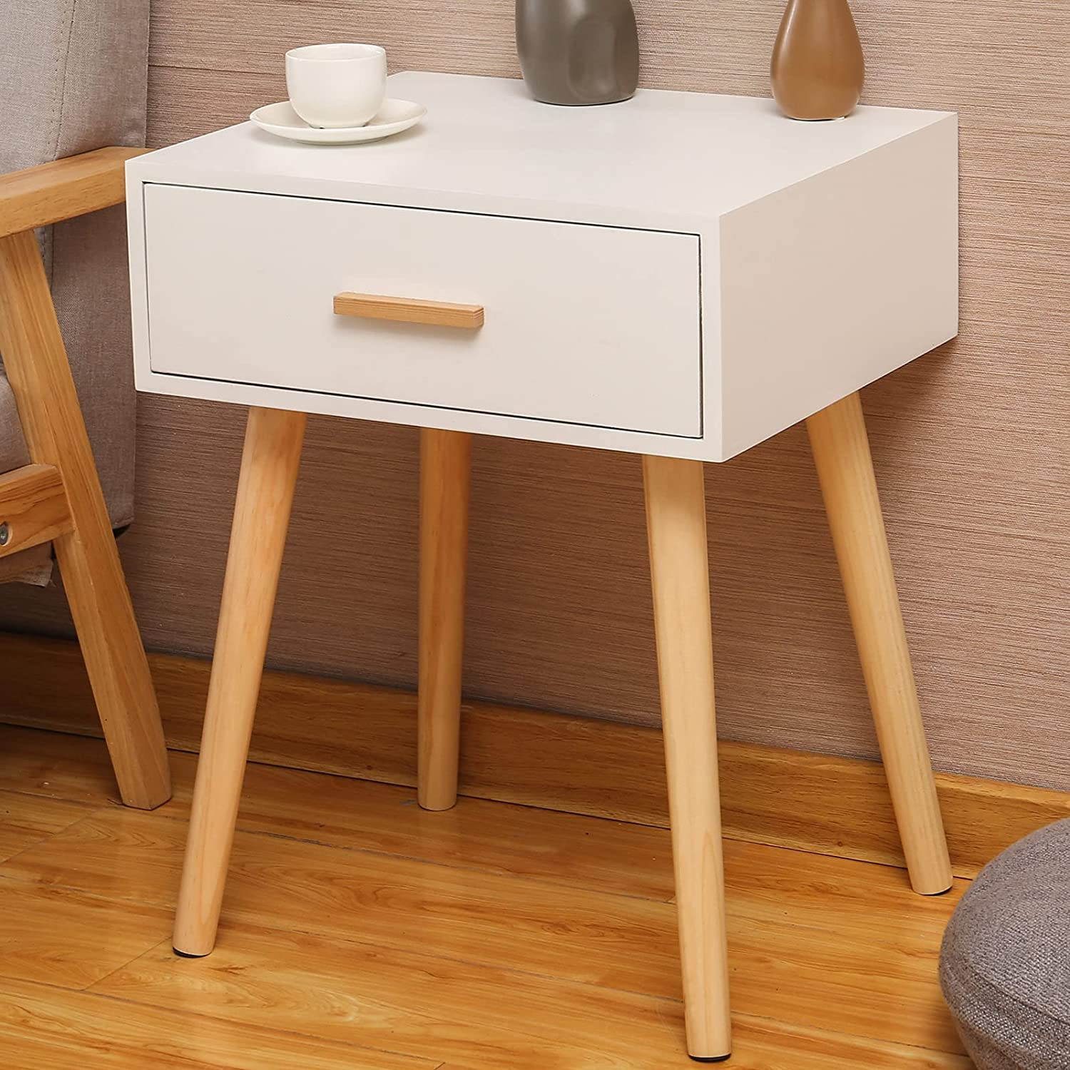 Nightstand with Drawer,Mid-Century Wood Bedside Table for Bedroom, Small Side End Table with Storage,White.