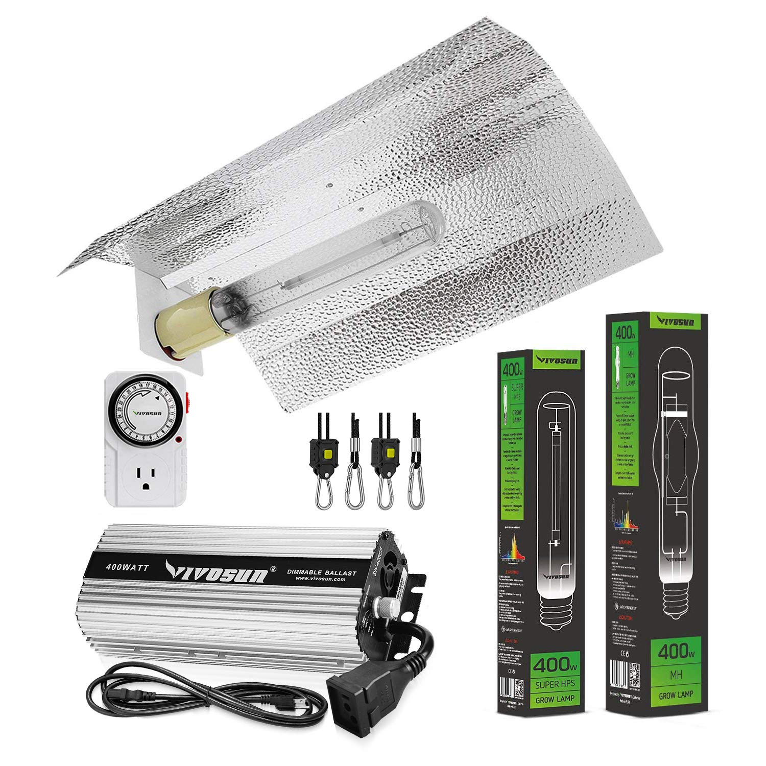 VIVOSUN Hydroponic 400 Watt HPS MH Grow Light Wing Reflector Kit - Easy to Set up, High Stability & Compatibility ( Enhanced Version )