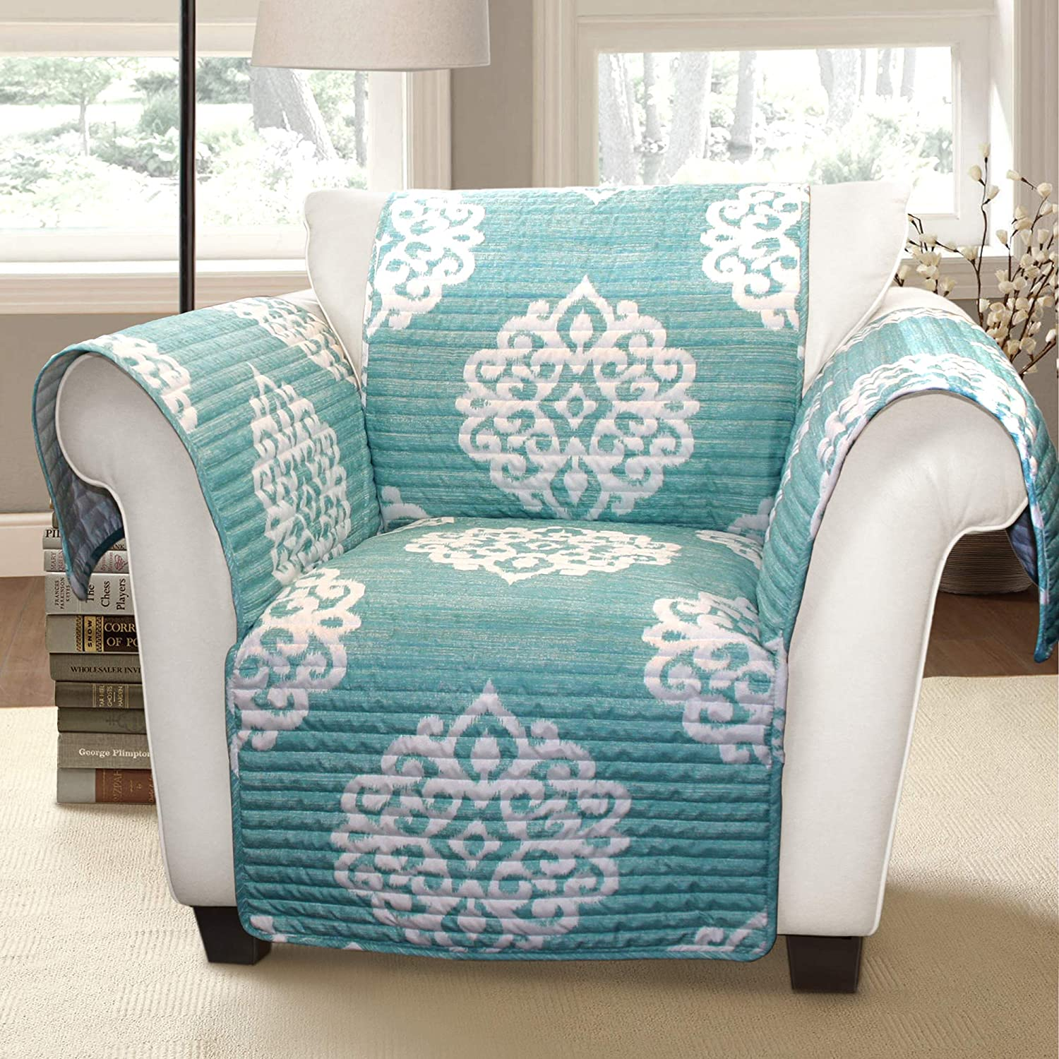 Lush Decor Blue Sophie Furniture Protector-Bold Pattern Armchair Cover