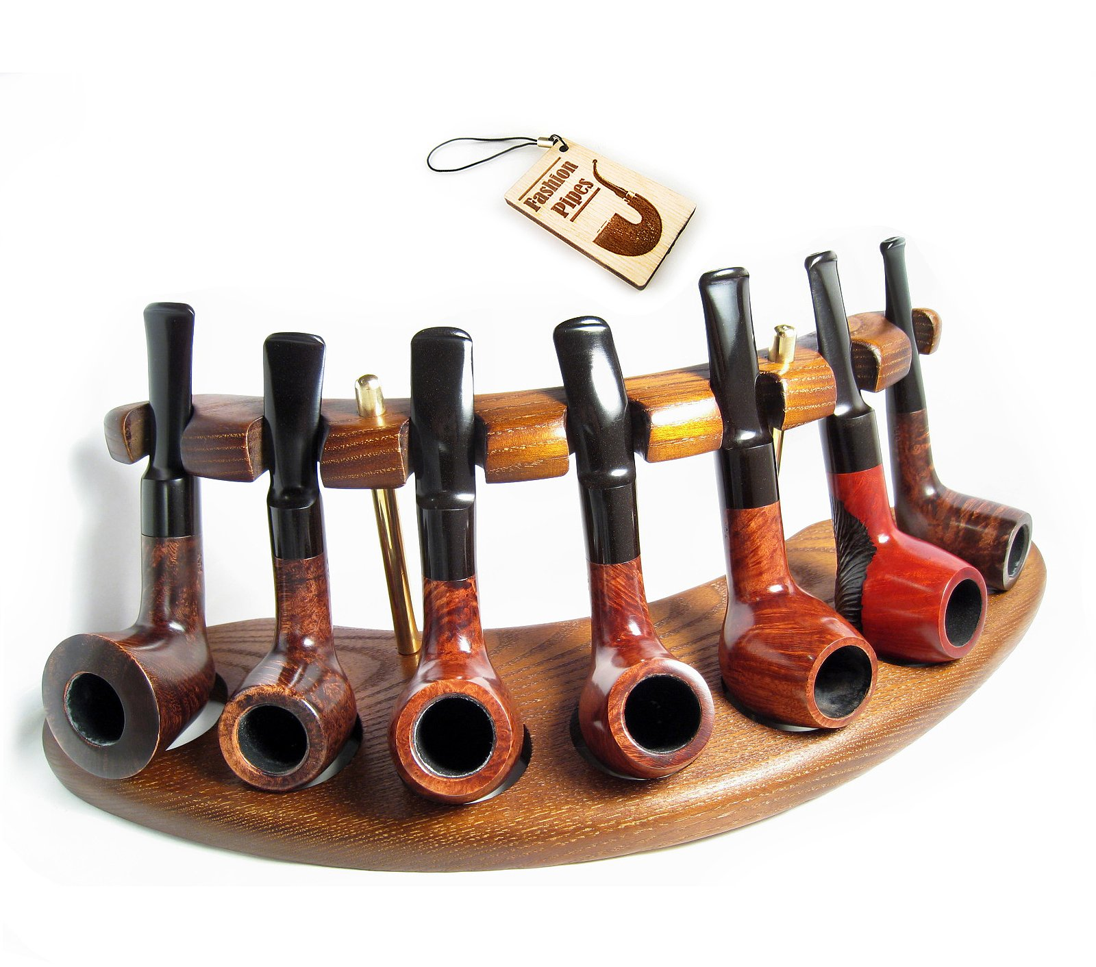 New Wooden Pipe Stand Rack Holder for 7 Tobacco Pipes. Handcrafted (7)