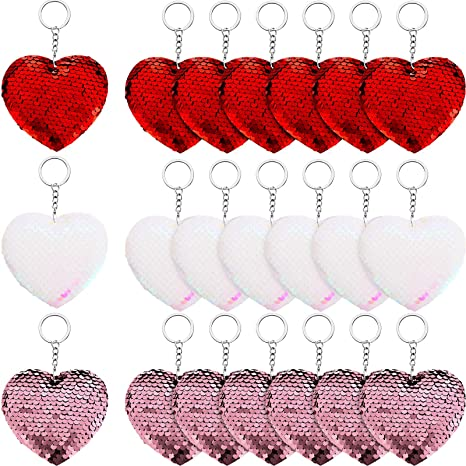 21 Pieces Valentine's Heart Sequin Keychains Heart Sequin Flip Keychains for Valentine's Day, Wedding Party Gifts, Backpacks, Purses, Luggage Accessories, 3 Colors