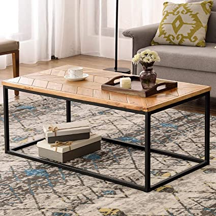 Easy Coffee Table.P Purlove Modern Wood Coffee Table Easy Assembly Center Table Cocktail Table For Living Room W Herringbone Pattern Top Metal Box Frame Glossy