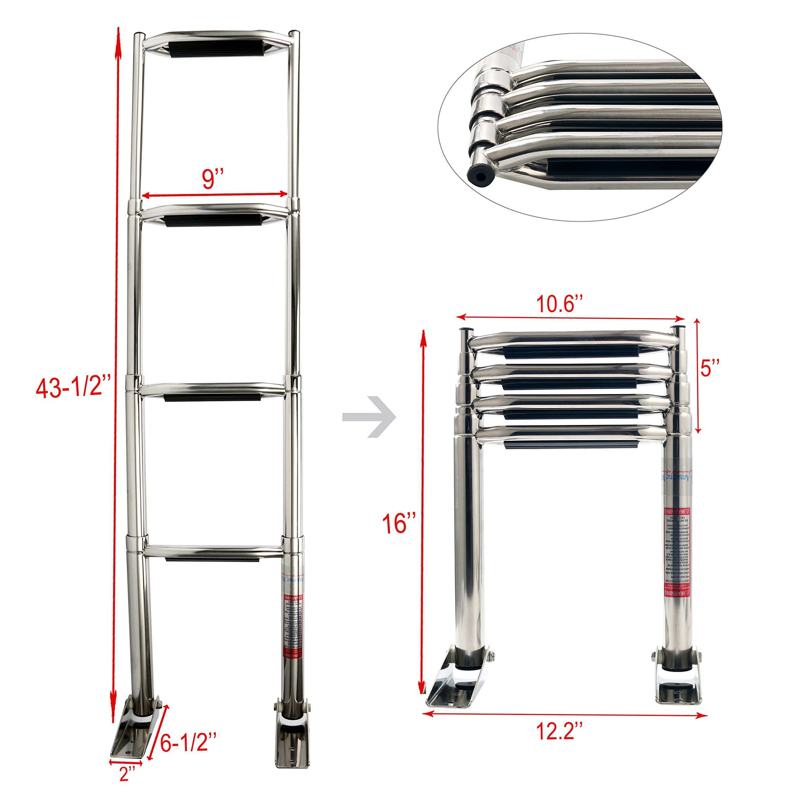 Amarine-made 4 Step Wide Steps Stainless Steel Telescoping Boat Ladder Swim Step