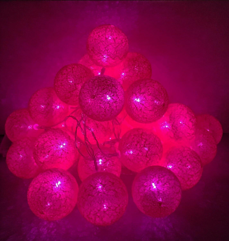 Battery operated globe rattan ball (pink light)