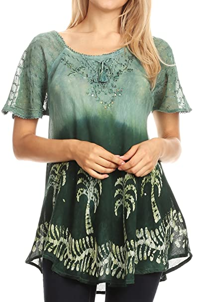 77a7f7f61e2 Sakkas 18713 - Magda Womens Short Sleeve Flare Bohemian Blouse Top Lace  Batik Printed - Green