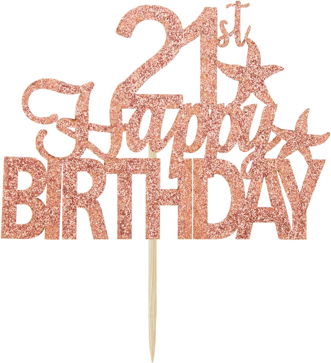 Hello 21 Rose Gold Glitter Happy 21st Birthday Cake Topper Twenty-one Years Old Party Sign Decorations