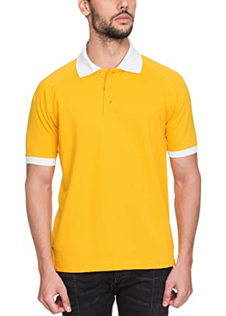 269d0c1f Zovi Cotton Spectra Yellow Raglan Pique Polo with Contrast White Collar (11933508101_XX-Large)