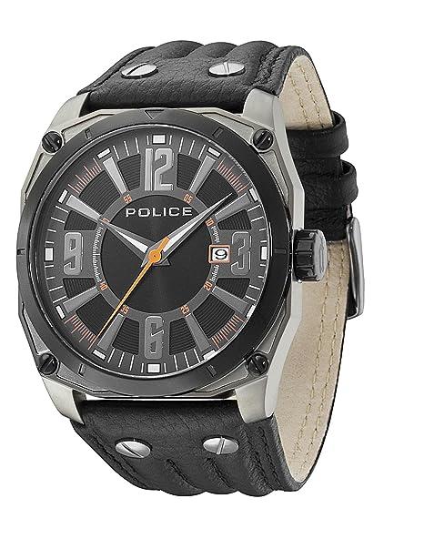 Police 13405JSUB/02A - Reloj analógico de cuarzo para hombre con correa de piel, color negro: Police: Amazon.es: Relojes