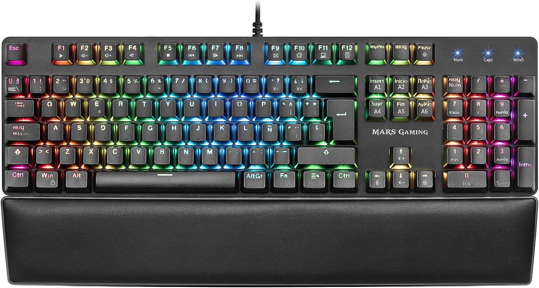 Mars Gaming MK5, teclado mecánico switch rojo, RGB 16.8, software, reposamuñecas