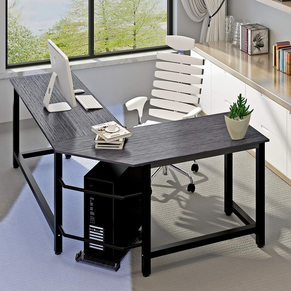 Amazon com modern computer desk l shaped corner desk home office desksmore stable structure tabledesign by ulikit kitchen dining