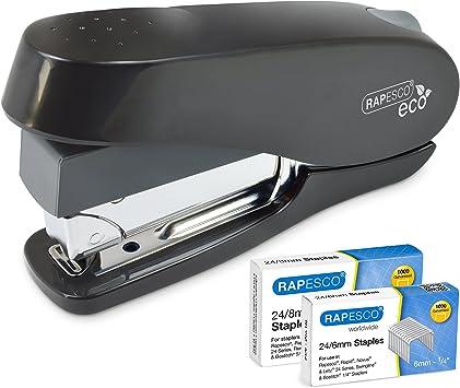 Rapesco 1466 ECO Luna Less Effort Stapler with Staples 50 Sheet Black