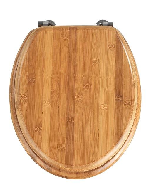 dark brown toilet seat. Wenko 144726100 Toilet seat Bamboo chromemetal mounting  37 x 42 5 cm Brown