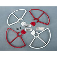 P3RW-UK Snap On/off Prop Guards 2x Red 2x White Propeller Protector for DJI Phantom 1 & 2 & 3 Standard Tool Free Quick Release Quick Disconnect