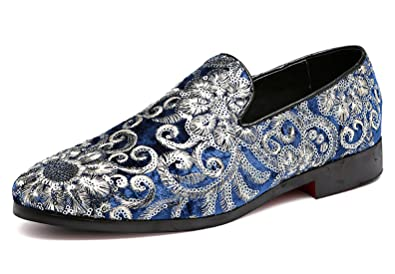 2c545320fc6 Santimon Mens Loafers Velvet Sequins Embroidery Smoking Slippers Dress  Shoes Wedding Moccasin Slip-on Flats