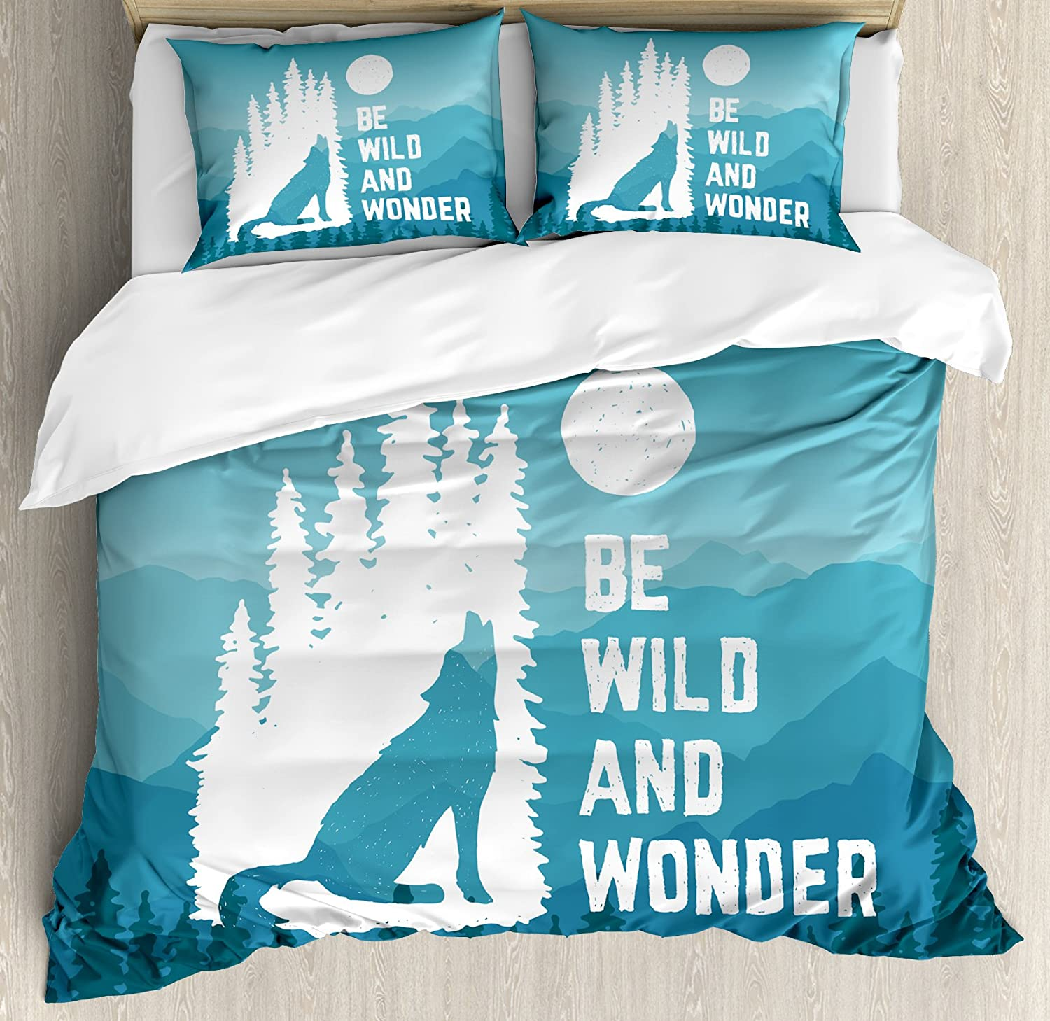 Ambesonne Adventure Duvet Cover Set, Hand Drawn Be Wild and Wonder Words Howling Wolf in The Woods Under Moon, Decorative 3 Piece Bedding Set with 2 Pillow Shams, Queen Size, Night Blue