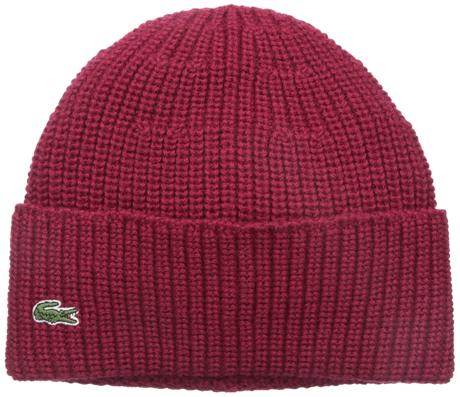 Lacoste Mens Rib Knitted Contrast Beanie