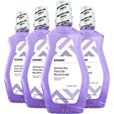 Amazon Brand - Solimo Anticavity Fluoride Mouthwash, Alcohol Free, Violet Mint, 1 Liter, 33.8 Fluid Ounces, Pack of 4