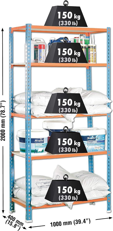 SimonRack SI455 Kit Estantería con 5 Estantes, Azul, naranja y madera