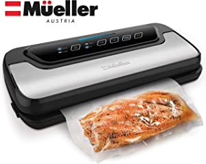 Vacuum Sealer Machine By Mueller | Automatic Vacuum Air Sealing System For Food Preservation w/Starter Kit | Compact Design | Lab Tested | Dry & Moist Food Modes | Led Indicator Lights