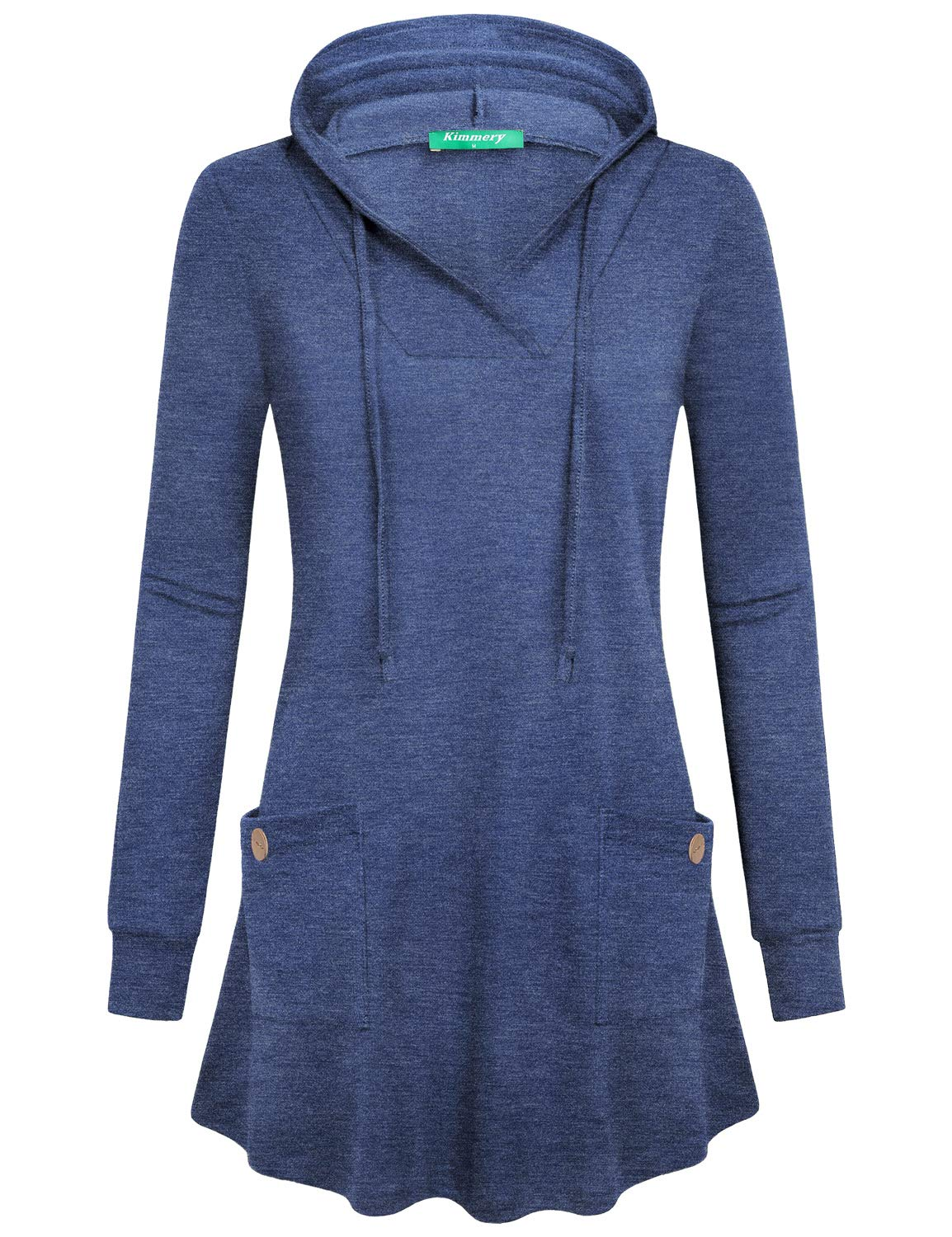 Kimmery Blue Hoodie for Women, Fit and Flare Sweatshirts Long Sleeve V Neck Pockets Pullover Button Detail Tunic for Juniors Solid Color Outwear Fashion for Winter Outdoor Travel Shopping X Large