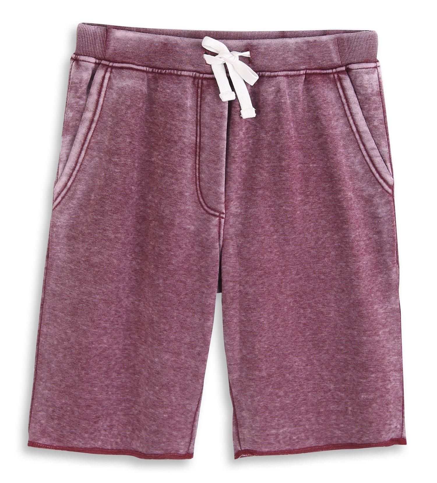 HARBETH Men's Casual Soft Cotton Elastic Fleece Jogger Gym Active Pocket Shorts Burnout Wine XL
