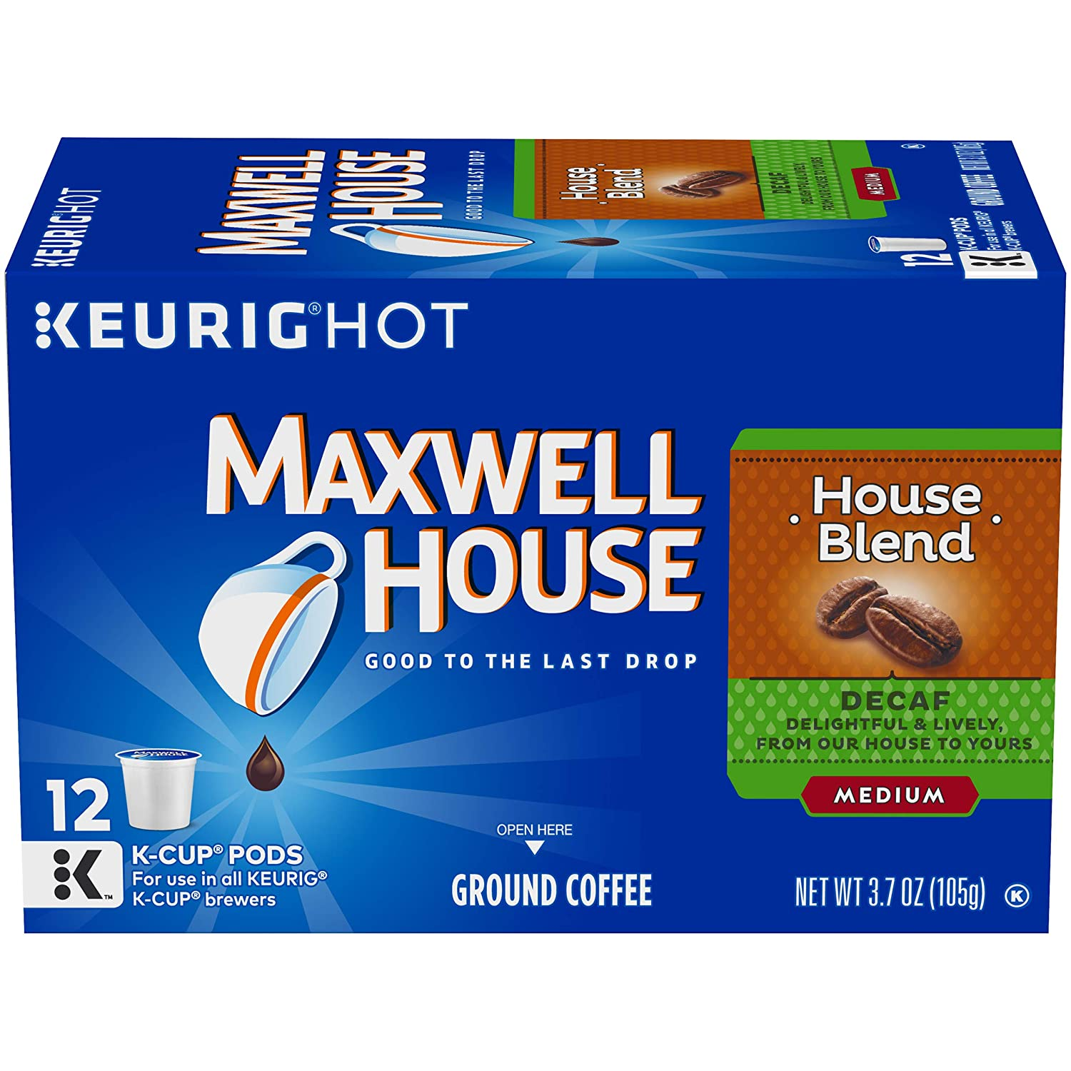 Maxwell House House Blend Keurig K Cup Decaf Coffee Pods (12 Count)