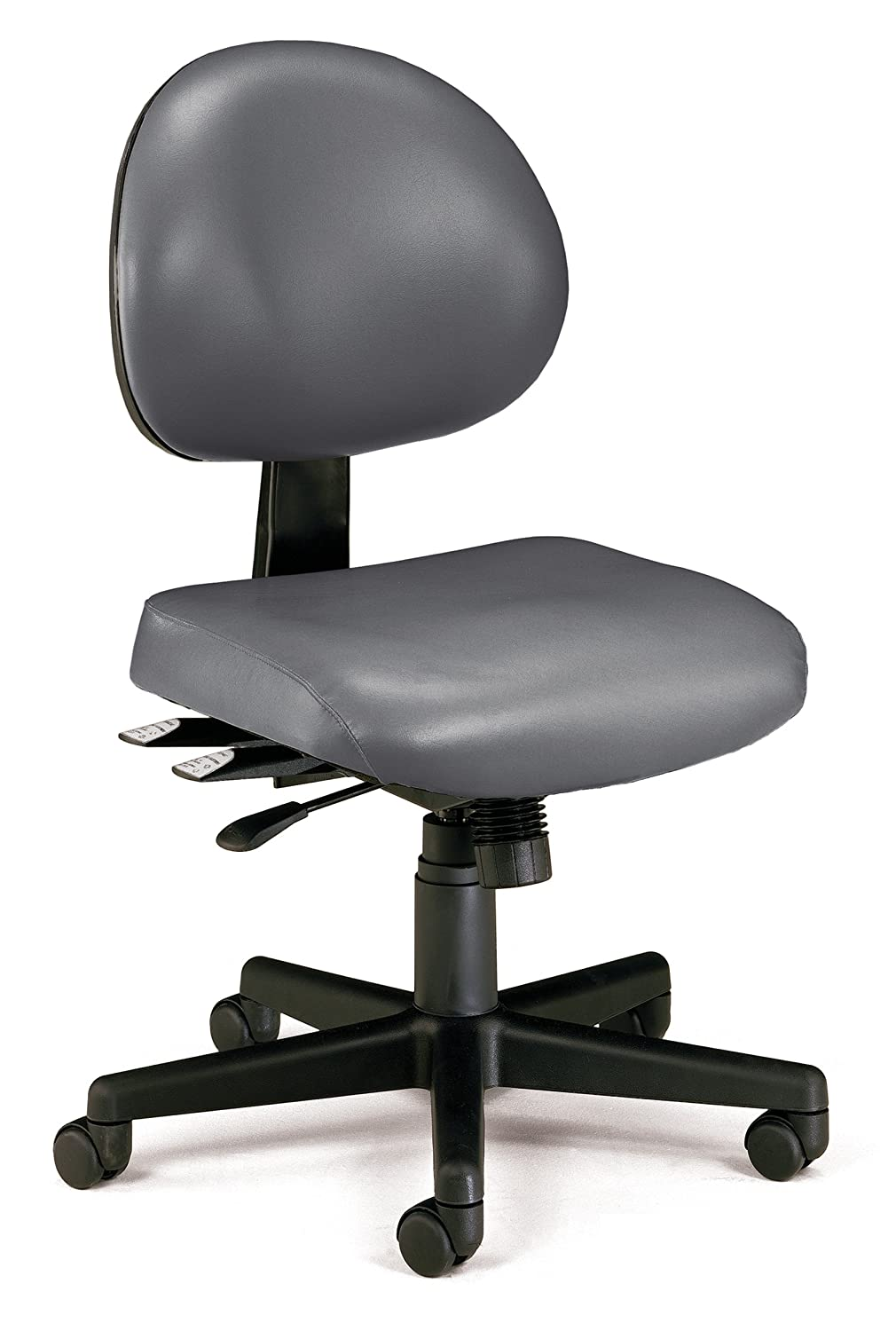 OFM 24-Hour Vinyl Multi-Adjustable Armless Task Chair, Charcoal